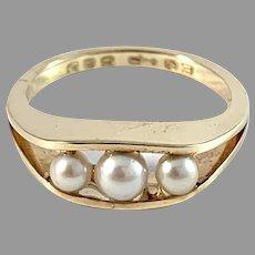 Egon Pedersen, Denmark. Vintage 14k Gold Cultured Pearl Ring.