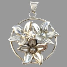 Parck & Co, Stockholm year 1947. Sterling Silver Flower Pendant.