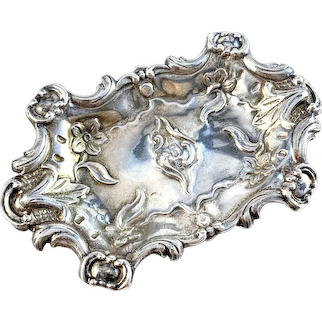 Adolf Lilja, Sweden year 1848. Early Victorian Sterling Silver Trinket Needle Jewelry Tray