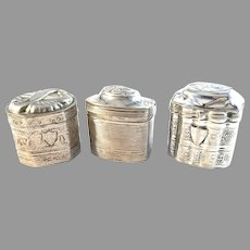 The Netherlands Mid 1800s Solid Silver Loderein Boxes.