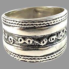 Scandinavia, Vintage Sterling Silver Viking Copy Ring.