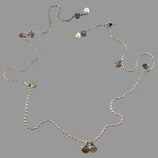 Kalevala Koru, Finland. Vintage Sterling Silver Cultured Pearl 32in Long Chain Necklace.