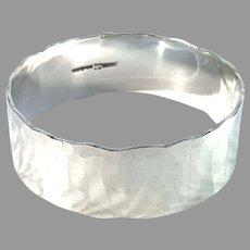 Denmark Vintage Massive Hand Hammered Sterling Silver Bangle Bracelet. Maker's Mark.