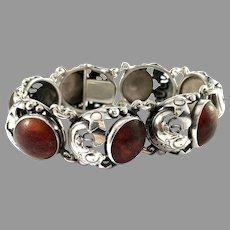 Niels Erik From, Denmark 1950s. Sterling Silver Amber Fish Bracelet.