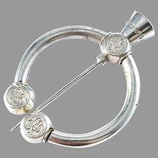 Lars Larsson, Gothenburg year 1866. Antique Victorian Silver Fibula Broosch Scarf Pin.