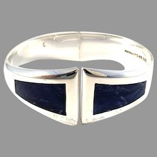 Mexico, Vintage Chunky Sterling Silver Sodalite Inlay Hinged Clamper Bracelet