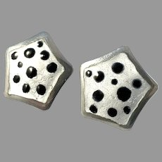 Knut A Rasmussen, Norway Vintage 1960s Sterling Silver Enamel Earrings