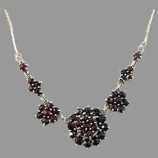 Vintage Mid Century 835 Silver Bohemian Garnet Necklace.