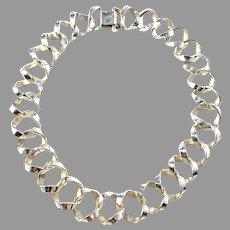 Anders Högberg for Högberg & Co, Sweden year 1960. Bold 3.0oz Sterling Silver Choker Necklace. Signed