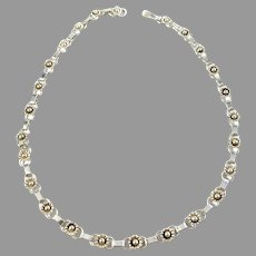 Herman Siersbøl Denmark 1950-60s. Solid Silver Flower Necklace.