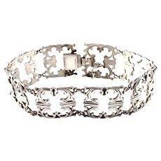 WMF Wurttembergische Metallwarenfabrik, Germany Early 1900s. Solid Silver Link Bracelet.