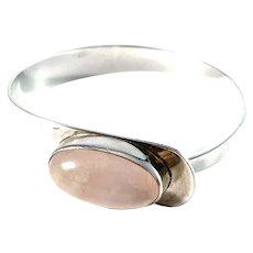 Vintage 1960-70s. Solid 835 Silver Rose Quartz Open/Close Bangle Bracelet