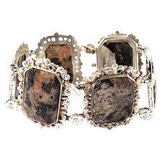 Gustaf Möllenborg, Stockholm 1846. Early Victorian Silver Hardstone Bracelet.