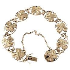 Victorian 18k Gold Four Leaf Clover Bracelet Lucky Bracelet.