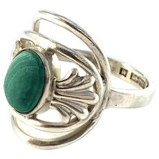 GUSSI, Sweden year 1952. Mid Century Sterling Silver Malachite Ring.