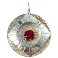Maker UH, Finland Sterling Silver Synthetic Red Stone Pendant.