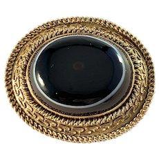Antique Victorian Etruscan Revival 14k Gold Banded Agate Brooch Pendant. 25gram
