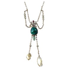 Antique Edwardian 9k Gold Turquoise Tourmaline Pearl Negligee Necklace.