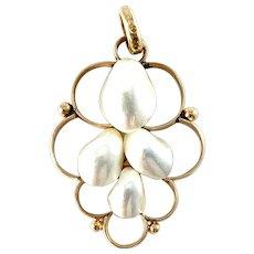 KE Carlsson, Gothenburg, Sweden 1922. Antique 18k Gold Mabe Pearl Pendant.