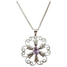 Allvin & Co, Sweden 1949. Vintage Mid Century Solid Silver Amethyst Pendant Necklace.