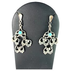 Finland, Vintage c 1950s Solid 830 Silver Turquoise Earrings.