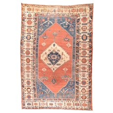 Antique Red Bakshaish Persian Area Rug Wool Circa 1890, SIZE: 11'4'' x 17'2''