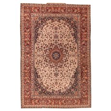 Spectacular & Rare Fine Antique Persian Isfahan Seyrafian Wool on Cotton Circa 1900, SIZE: 4'10'' x 7'2''