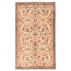 Antique Beige Agra Indian Area Rug Silk & Wool Circa 1890, SIZE: 4'0'' x 6'9''