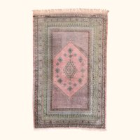 Extremley Fine Indian Rug  Kashmiri  Silk On Silk Hand Knotted Circa 1940's, Size
