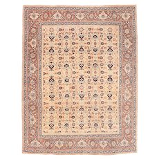 Excellent Beige Contemporary Area Rug Silk & Wool Circa 1890, SIZE: 4'2'' x 5'3''