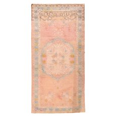 Fine Antique Pastel Oushak Wool on Cotton Circa 1920, SIZE: 3' '' x 6'2''