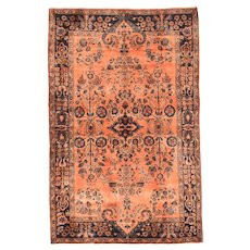 Antique Salmon Mohajeran Sarouk Persian Area Rug Silk & Wool Circa 1920, SIZE: 4'2'' x 6'5''