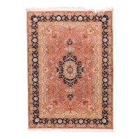 Excellent Rose Tabriz Persian Area Rug Wool & Silk Circa 1970, SIZE: 6'9'' x 9'10''