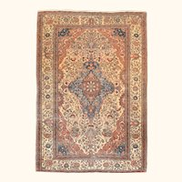"""Extremly Fine Antique Persian Mohtasham Kashan Hand Knotted Circa 1890, Size 4'6"""" x 6'4"""""""