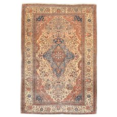 "Extremly Fine Antique Persian Mohtasham Kashan Hand Knotted Circa 1890, Size 4'6"" x 6'4"""