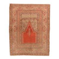 Fine Antique Turkish Prayer Rug Wool on Cotton Circa 1890, SIZE: 4'6'' x 5'9''