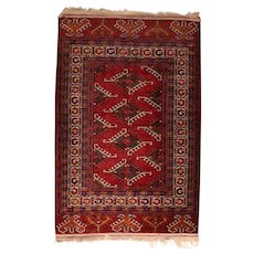 Vintage Red Bokhara Russian Area Rug Wool Circa 1940, SIZE: 2'9'' x 4'1''