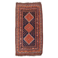 Extremely Fine Antique Persian Ghashghai Tribal Rug Circa 1890, SIZE: 4'5'' x 8'1''