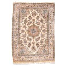 Vintage Turkish Silk Hereke Area Rug