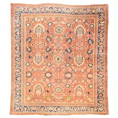 Antique Rust Sultanabad Persian Area Rug Wool Circa 1890, SIZE: 13'8'' x 14'6''