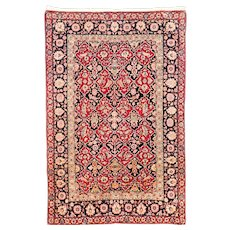 "Fine Antique Persian Rug  Isfahan Hand Knotted One Of Pair, Circa 1890, Size 4'7"" x 7'10"""