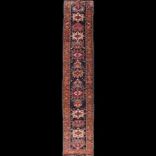 Antique Navy Fine Persian Karajeh Heriz Area Rug Circa 1910 SIZE: 2'9'' x 14'8''