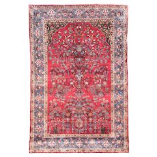 "Extremly Fine Antique Persian  Rug Kashan Silk On Silk Hand Knotted Circa 1890, Size 4'5"" x 6'6"""