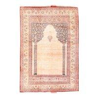 "Extremly Fine Antique Persian Tabriz Haji Jalili Silk On Silk Hand Knotted Circa 1890, Size 4'0"" x 5'8"""