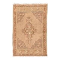 Semi Antique Beige Turkish Area Rug Wool Circa 1930 SIZE: 2'10'' x 4'3''