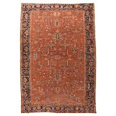Antique Black Persian Heriz Serapi Area Rug Circa 1900, SIZE: 9'4'' x 13'10''