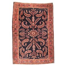 Antique Rust Mohajeran Sarouk Persian Area Rug Wool Circa 1920, SIZE: 4'4'' x 6'4''