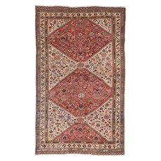 Antique Red Qashqai/Kashkai Khamseh Persian Area Rug Wool Circa 1890, SIZE: 4'10'' x 7'2''