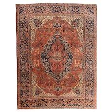 Hand Knotted Persian Farahan Sarouk Wool Circa 1890, SIZE: 8'6'' x 11'0''