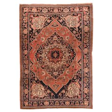 Hand Knotted Persian Farahan Sarouk Wool Circa 1890, SIZE: 8'5'' x 11'10''